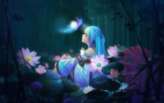 anime-girl-sitting-and-lotus-flowers-1680x1050